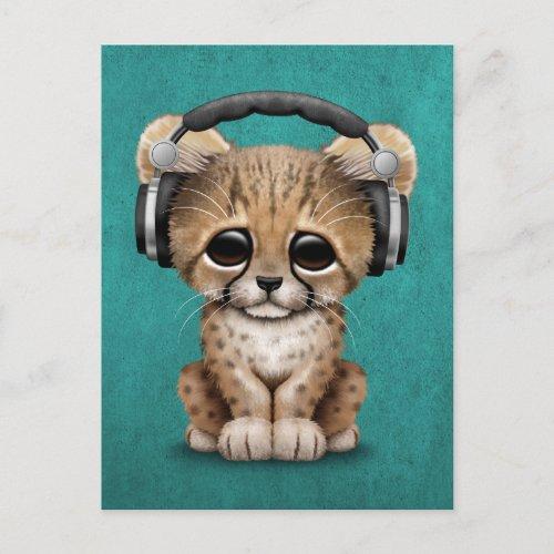 Cute Cheetah Cub Dj Wearing Headphones on Blue Postcard