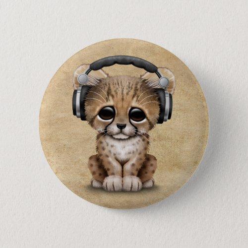 Cute Cheetah Cub Dj Wearing Headphones Pinback Button