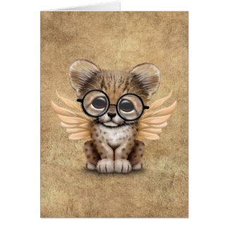 Cute Cheetah Cub Fairy Wearing Glasses Card