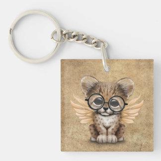 Cute Cheetah Cub Fairy Wearing Glasses Keychain