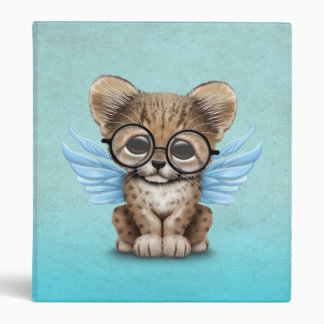 Cute Cheetah Cub Fairy Wearing Glasses on Blue 3 Ring Binder