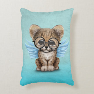 Cute Cheetah Cub Fairy Wearing Glasses on Blue Decorative Pillow
