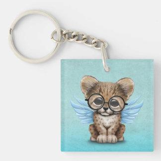 Cute Cheetah Cub Fairy Wearing Glasses on Blue Keychain