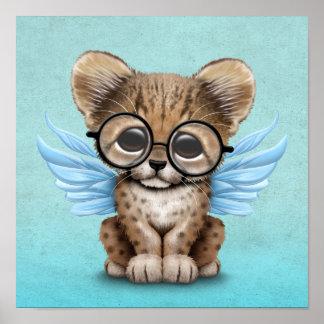 Cute Cheetah Cub Fairy Wearing Glasses on Blue Poster