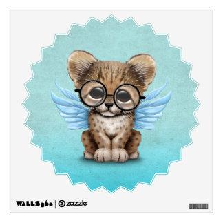 Cute Cheetah Cub Fairy Wearing Glasses on Blue Wall Decal