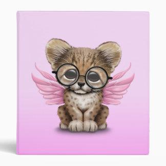 Cute Cheetah Cub Fairy Wearing Glasses on Pink 3 Ring Binder