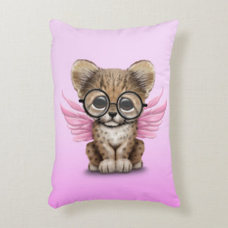 Cute Cheetah Cub Fairy Wearing Glasses on Pink Decorative Pillow