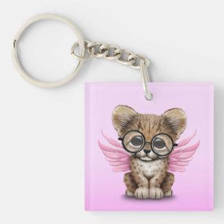Cute Cheetah Cub Fairy Wearing Glasses on Pink Keychain