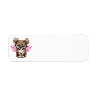 Cute Cheetah Cub Fairy Wearing Glasses on Pink Label