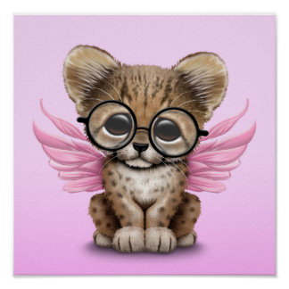 Cute Cheetah Cub Fairy Wearing Glasses on Pink Poster