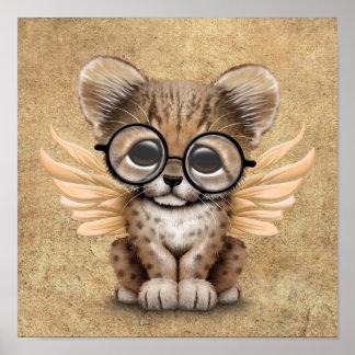 Cute Cheetah Cub Fairy Wearing Glasses Poster