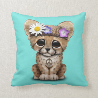 Cute Cheetah Cub Hippie Throw Pillow