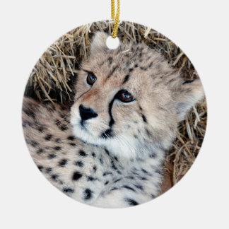 Cute Cheetah Cub Photo Ceramic Ornament