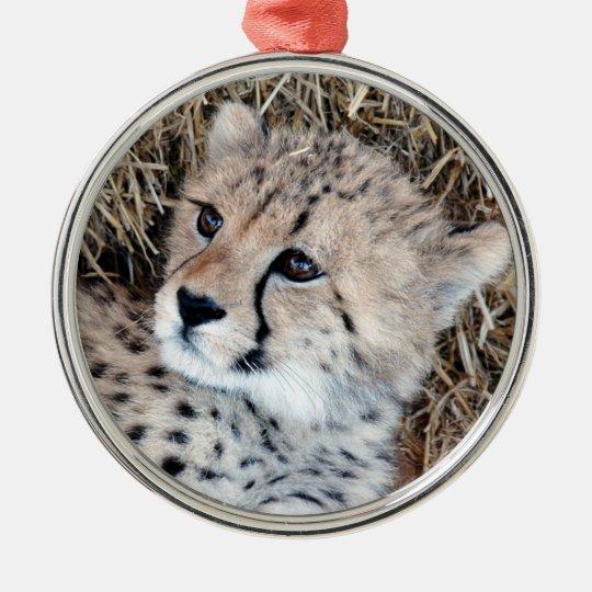 Cute Cheetah Cub Photo Metal Ornament