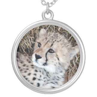 Cute Cheetah Cub Photo Silver Plated Necklace