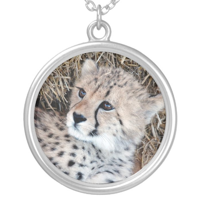 Cute Cheetah Cub Photo Silver Plated Necklace