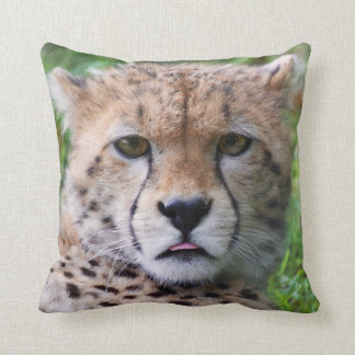 Cute cheetah cub portrait throw pillow