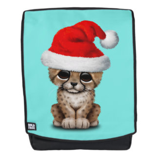 Cute Cheetah Cub Wearing a Santa Hat Backpack