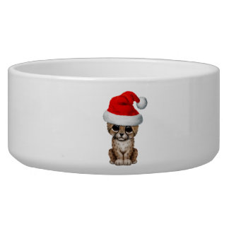 Cute Cheetah Cub Wearing a Santa Hat Bowl