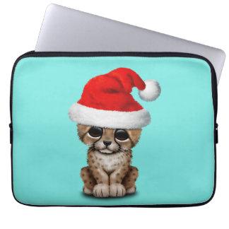 Cute Cheetah Cub Wearing a Santa Hat Computer Sleeve