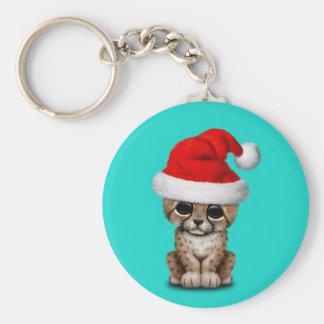 Cute Cheetah Cub Wearing a Santa Hat Keychain