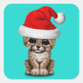 Cute Cheetah Cub Wearing a Santa Hat Square Sticker