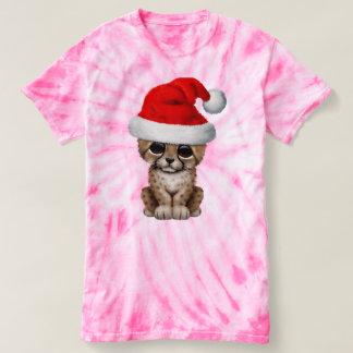 Cute Cheetah Cub Wearing a Santa Hat T-shirt