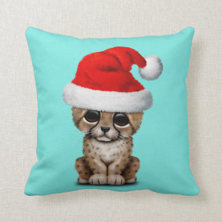 Cute Cheetah Cub Wearing a Santa Hat Throw Pillow