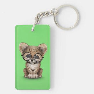 Cute Cheetah Cub Wearing Glasses on Green Keychain