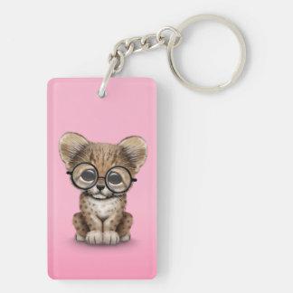 Cute Cheetah Cub Wearing Glasses on Pink Keychain
