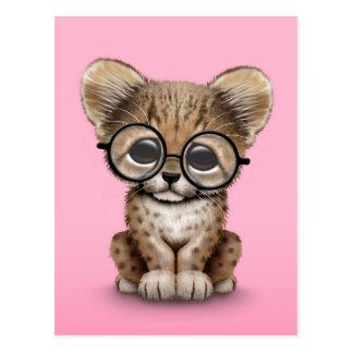 Cute Cheetah Cub Wearing Glasses on Pink Postcard