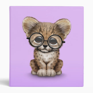 Cute Cheetah Cub Wearing Glasses on Purple 3 Ring Binder