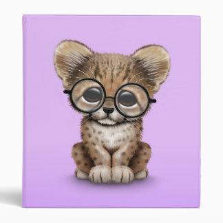 Cute Cheetah Cub Wearing Glasses on Purple 3 Ring Binder