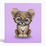 Cute Cheetah Cub Wearing Glasses on Purple Vinyl Binders