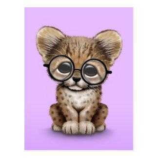 Cute Cheetah Cub Wearing Glasses on Purple Postcard