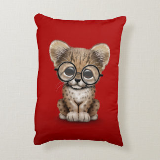 Cute Cheetah Cub Wearing Glasses on Red Accent Pillow