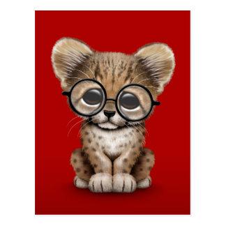 Cute Cheetah Cub Wearing Glasses on Red Postcard