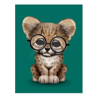 Cute Cheetah Cub Wearing Glasses on Teal Blue Postcard