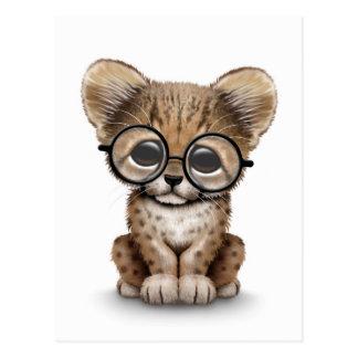 Cute Cheetah Cub Wearing Glasses on White Postcard