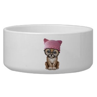 Cute Cheetah Cub Wearing Pussy Hat Bowl