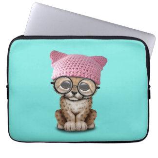 Cute Cheetah Cub Wearing Pussy Hat Laptop Sleeve