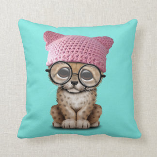 Cute Cheetah Cub Wearing Pussy Hat Throw Pillow