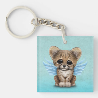 Cute Cheetah Cub with Fairy Wings on Blue Keychain