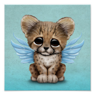 Cute Cheetah Cub with Fairy Wings on Blue Poster