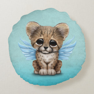 Cute Cheetah Cub with Fairy Wings on Blue Round Pillow