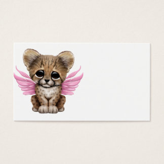 Cute Cheetah Cub with Fairy Wings on Pink Business Card