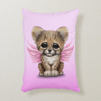 Cute Cheetah Cub with Fairy Wings on Pink Decorative Pillow