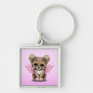 Cute Cheetah Cub with Fairy Wings on Pink Keychain