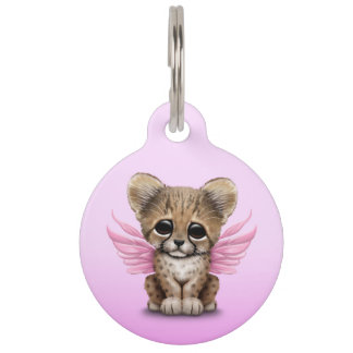 Cute Cheetah Cub with Fairy Wings on Pink Pet Name Tag