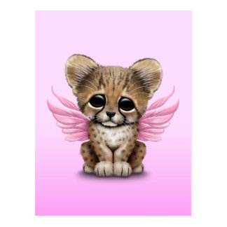 Cute Cheetah Cub with Fairy Wings on Pink Postcard